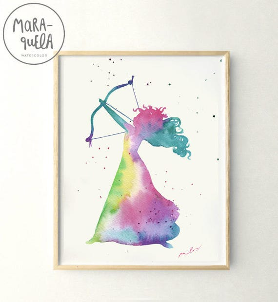 Original MERIDA Brave princess, watercolor handmade.