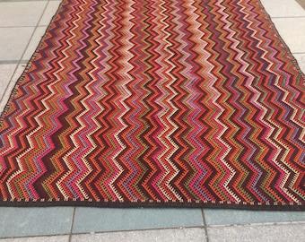 Vintage Bohemian Turkish Kilim Rug,Hand Made Turkish Rug,Kilim,Carpet Rug ,Turkish Kilim Rug' 10.82ft x6.82ft / 330 x 208 cm
