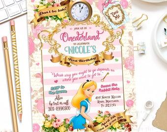 ALICE IN ONEDERLAND Invitation, Alice in Wonderland Invitation, Girl's 1st Birthday Party Invitation,Alice in Wonderland Birthday Invitation