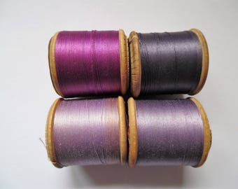 Vintage Sylko wooden cotton reels and thread. Sylko cotton threads. Wooden Sylko cottons. Wooden cotton spools.