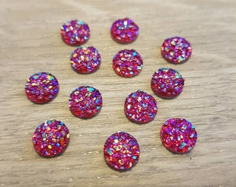 8mm Iridescent Faux Druzy Cabochons Resin Kawaii Cabochon Glitter Embellishments Jewelry Supplies Earring Components Ring Findings Cherry