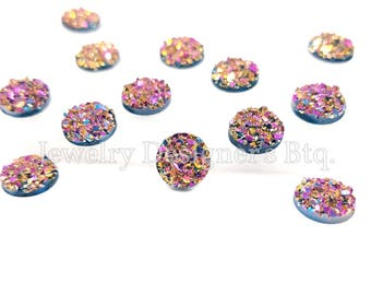 8mm Iridescent Faux Druzy Cabochons Resin Kawaii Cabochon Glitter Embellishments Jewelry Supplies Earring Components Ring Findings Rainbow