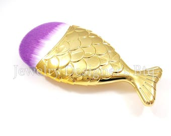 Mermaid Tail Makeup Brush, Mermaids Cosmetic Brushes, Fish Scale Brushes, Synthetic Face Brush - 1 Piece - Gold