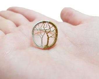 FREE SHIPPING Trees of Valinor wire wrap ring, Tolkien inspired, Trees of Valinor, Silmarillion, Laurelin and Telperion