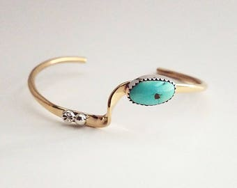 Brass wave cuff bracelet with turquoise