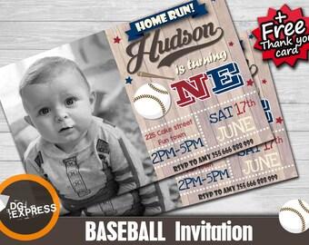 "Baseball Invitation photo - ""Vintage BASEBALL BIRTHDAY Invitation"" First Birthday Invitation, Baseball Party Invite, Softbal Printable"