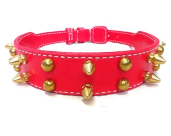 Dog collars for large dogs with 2 rows brass spike studs