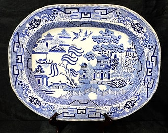 A huge 19th century, Staffordshire chinoiserie platter