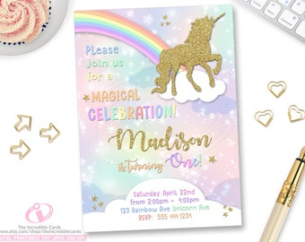 Unicorn Invitation, Rainbow Invitation, Magical Birthday Invitation, Unicorn Birthday Invitation, Rainbow Birthday Invitation, Unicorn Party