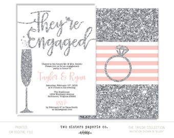SILVER ENGAGEMENT PARTY Invitation - Silver Glitter Invitation - They're Engaged We're Engaged - Glitter Engagement Party - Gold Engagement