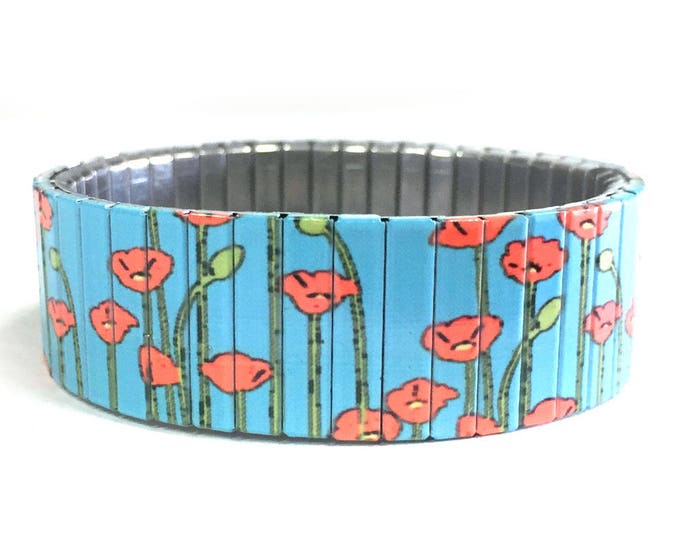 Flexible steel bracelet, Poppies, California, Eschscholzia californica, Repurpose watch band, Sublimation, Stainless Steel, gift for friends