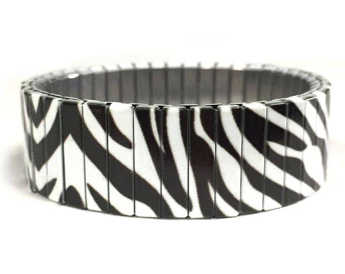 Bracelet ZEBRA PRINT, Wild Animals, Stainless Steel, Repurpose Watch Band, Stretch Bracelet, Wrist Band, Sublimation, gift for friends