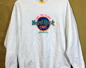 80s Vintage Hard Rock Cafe Honolulu Embroidered Logo Sweatshirt Adult Large Size