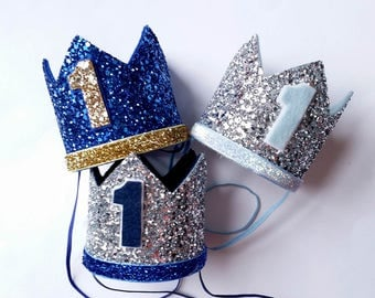 1st Birthday hat, gold hat, First Birthday Hat, photo props, silver, royal blue,navy ,Baby Boy Smash Cake Photo Prop