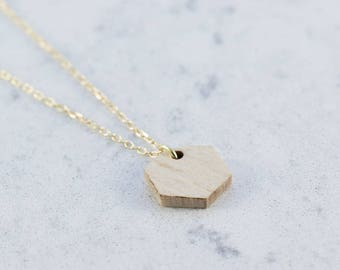 Hexagon shaped necklace made of beech,wood,