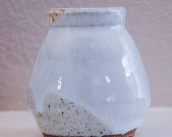 White and Purple Handmade Ceramic Cup