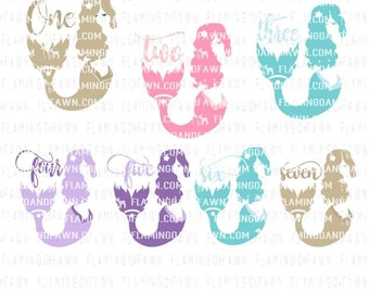 Mermaid birthday svg, birthday mermaid svg, mermaid svg files, svg mermaid, birthday bundle svg, bundle svg, 1st birthday svg, 2nd birthday