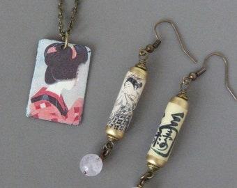 Japanese Jewellery Sets, Japanese Geisha Pendant Earrings, Asian Jewelry, Chinese Calligraphy, Teen Jewellery, Handmade, Romantic Gift