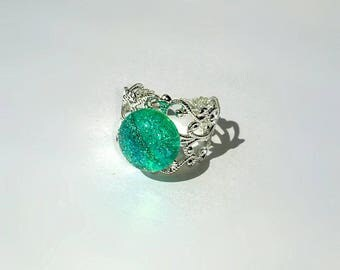 Glass Mermaid Aqua Adjustable Ring