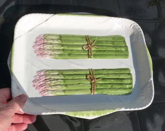French majolica asparagus tray. Vintage French asparagus plates. Majolica asparagus dish.