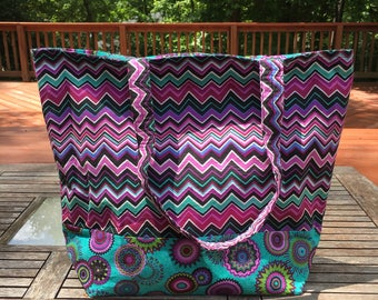 Clearance Sale Purple Chevron Tote Bag, Beach Bag, Travel Bag, Diaper Bag, Overnight Bag