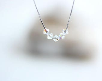 Iridescent Small AB Crystal Necklace - Sterling Silver Crystal Necklace - Aurora Borealis - Clear AB Faceted Crystals - Gift for her