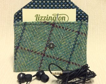 Welsh tweed business card case/headphone case/pouch in teal green check