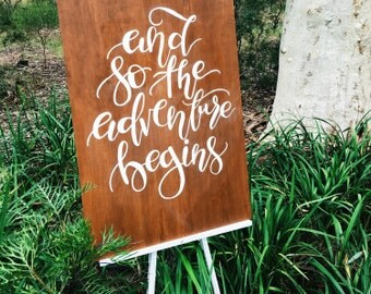 And so the adventure begins quote. Wedding sign. Wedding accesories. Wedding gift. Wooden wedding sign. Handlettered sign