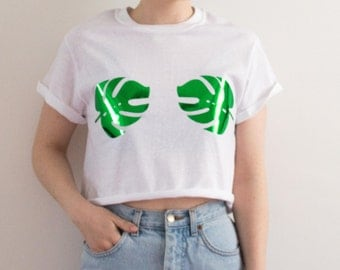 Monstera Leaf Crop Top White Summer Festival Hipster Tumblr Hippie S/M/L/XL