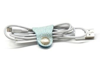 Kabelbinder hellblau Multi Pack Kabelhalter Lederclip Kabel Halterung Leder Accessoires Kopfhörer befestigen Ladekabel aufräumen Schnur