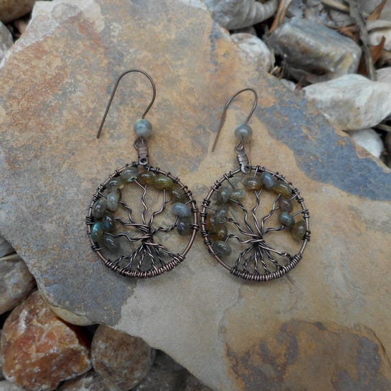Labradorite - beaded Tree Of Life Wire Wrapped Earrings -  Labradorite Earrings - Tree of life earrings -