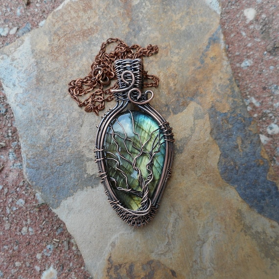 Multi Flash Labradorite Copper Wire Wrapped Tree of life Pendant - Green Labradorite tree of life - Yellow Labradorite Tree of life