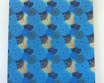 Handmade Indian Cotton Rag Decorative Paper - Blue Hues and Shimmery Gold Flower Design