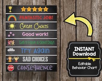 50% OFF Sale Kids Behavior Chart - Editable - Instant Download - Custom - Chalkboard - Picture - Incentive - Prize - Chart - Printable
