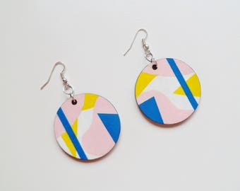 Wooden Collage Shapes Circle Earrings - hand-painted jewellery, geometric dangle earrings, colourful earrings, mismatched earrings