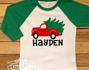 Red truck shirt, Custom shirt, Youth Christmas shirt, Kid's Christmas shirt, Christmas shirt, gift idea, Holiday shirt