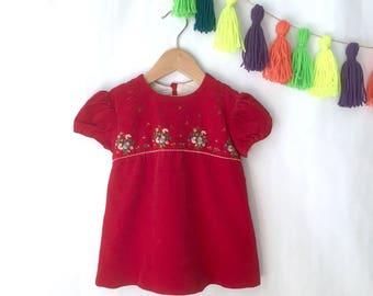 Vintage toddler girl red velvet dress, vintage Lord & Taylor red velvet made in Switzerland holiday dress, Size 2T