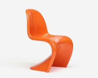 Vintage Midcentury Danish Verner Panton S Chair glossy orange