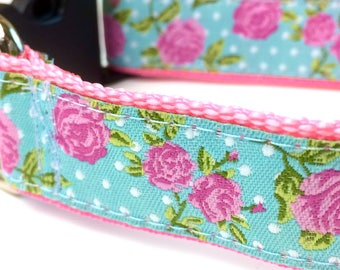Rose Dog Collar | Floral Dog Collar | Girl Dog Collar | Pink Dog Collar | Floral Harness & Leash | Personalized Dog Collar | Step In Harness