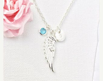 VACATION SALE silver angel wing Initial and birthstone necklace, angel wing necklace, birthstone necklace, initial necklace, guardian angel