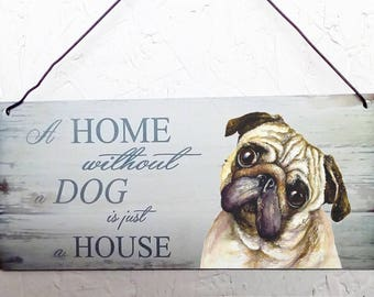 Pug Metal hanging sign