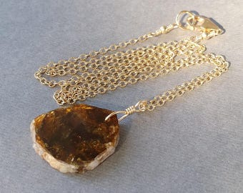Yellow Tourmaline Slice Necklace, 14K Gold Filled Chain, Natural Raw Slice, Golden Gemstone, OOAK Unique Stone Slab, Simple Minimalist