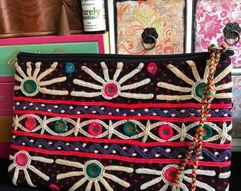 ON SALE Röötz - Banjara Clutch, Vintage Boho purse, Boho clutch embroidered Ethnic bag, vintage coin hand purse, pom pom Pochette,Kantha bag