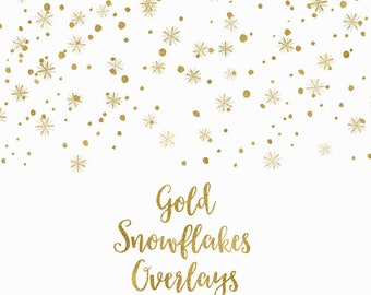 BUY 3 FOR 8 USD, Gold snowflakes overlays, digital confetti, gold glitter borders clipart, falling snowflakes, christmas clip art, download,
