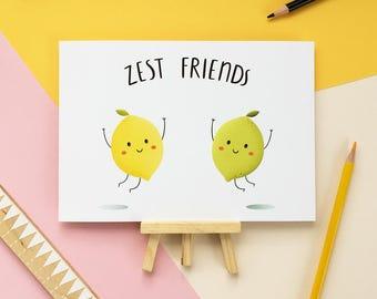 Zest Friends - Art Print - Lemon - Lime - Food Print - Best Friend Gift - A5 - Pun - Foodie - Food Lovers - Citrus Fruits - Food Decor