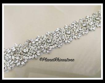 1 Yard Iron-on Embellished Bridal Trim #I-9