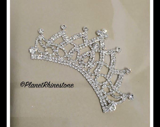 Silver Rhinestone Crown Applique #AF-5