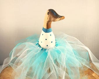 Small Wooden Blue Spotted Tutu Duck