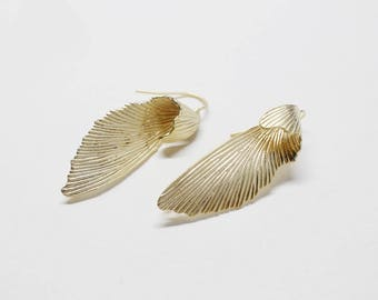 E0182/Anti-Tarnished Matte Gold Plating Over Brass/Large Leaf Earring Hooks/12x35mm/1 pair(Left & Right)