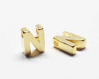 P0721/Anti-Tarnished Gold Plating Over Brass /Brushed Mini Alphabet Charm/4.9x7mm/2pcs